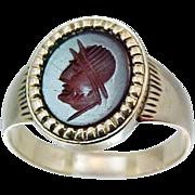 10k Gold Victorian Carnelian Cameo Ring Roman Soldier