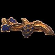 Victorian 10k Gold & Blue Enamel Grapes Motif Bar Pin
