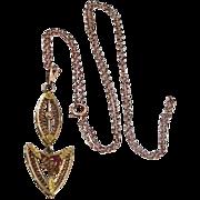 10K Gold Filigree Victorian Lavalier on 10k Gold Chain