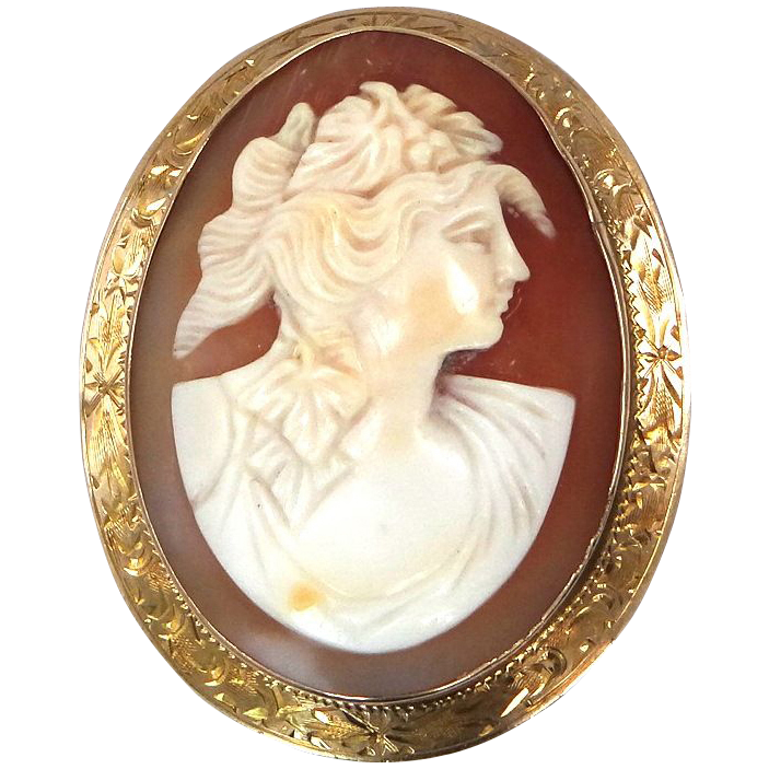 14k Gold Victorian Shell Cameo Pin / Pendant Larger Size
