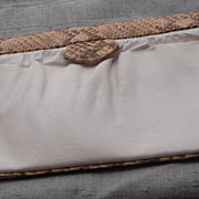 Susan Gail White Clutch Bag with Camel/Brown Snake Trim