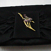 Black Satin Envelope Evening Bag Made by Siso Italy with Removable Pin