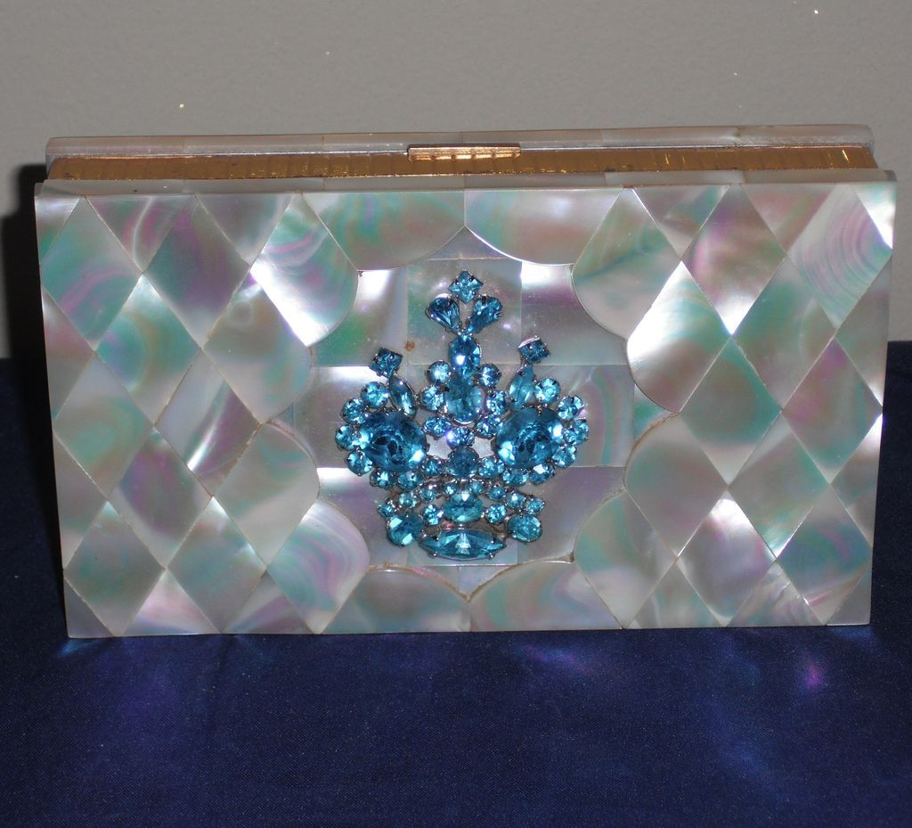 Evans Mother of Pearl Minaudiere |Dance Compact with Aqua Rhinestones