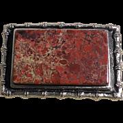 Red Leopard Jasper Belt Buckle in Silver Metal