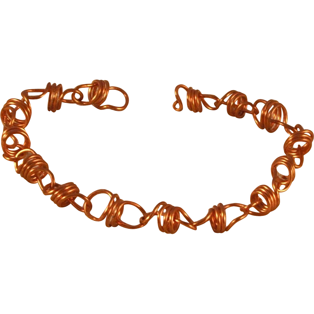 """Copper Coiled Bracelet with Self Clasp - 7.5"""""""
