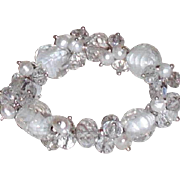 Crystal, Art Glass and Freshwater Pearls Stretch Bracelet  | White