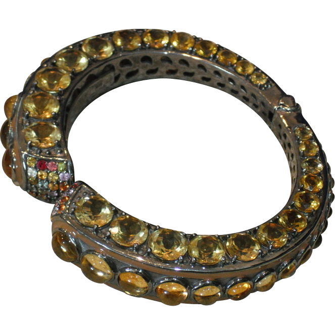 Rina Limor Citrine and Fancy Topaz Sterling Silver Clamper/Bangle/Cuff