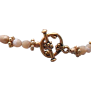 Beige Freshwater Pearl and Natural Mother of Pearl Bracelet - 7.5""