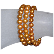 Gold Dyed Fresh Water Pearl Slip-On Bracelets (3)