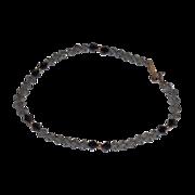 "Vintage Pale Grey/Black Jet Swarovski Crystal and 14 K Yellow Gold Bracelet – 7.5"""