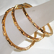 Crown Trifari  Gold Plated Three Bangle Bracelets with Interlocking Bricks