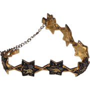 Damascene bracelet – Links like Star of David – 7.25""