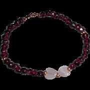 "Vintage Rubellite Tourmaline Rose Quartz Hearts Bracelet – 7.75"""