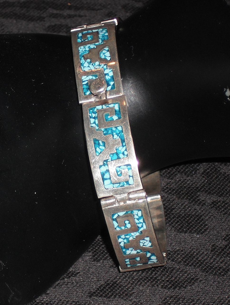 Sterling Silver Hinged Bracelet with Turquoise Mosaic- 7.5""