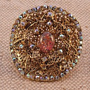 MUSI Belt Buckle with Austrian Crystal Rhinestones and Faux Opal