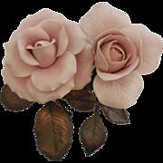 Boehm Roses - Queen Elizabeth and Royal Highness – Pink - Both damaged