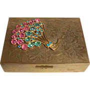 Chinese Brass Box with Colored Rhinestone Decoration