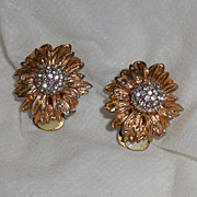 Flower Clip Earrings with Pave` Rhinestones Center