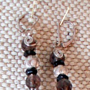 Smokey Quartz and Silver Earrings