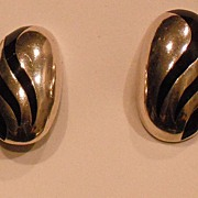 Oval Sterling Silver Clip Earring with Black Enamel