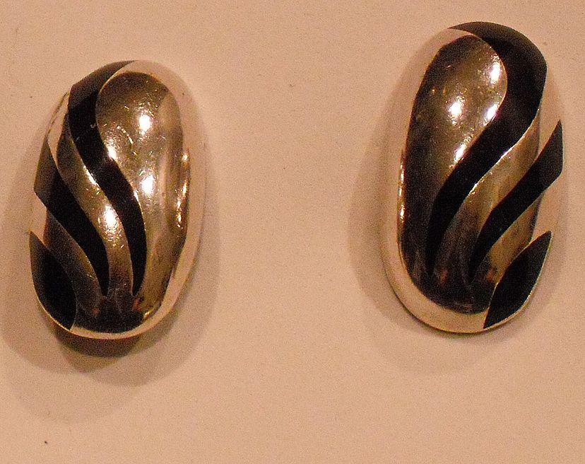 Oval Sterling Silver Clip Earring with Black Enamel