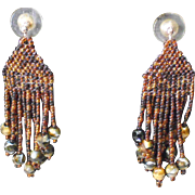 Brown Multi-colored Seed Bead Earrings