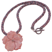 Pink Tweed Seed Bead Necklace - 25""