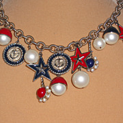 Red White and Blue Nautical Necklace -18.5""