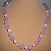 Rose Quartz  / Pink Coral Necklace with  Magnetic Clasp – 21.5""