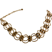 "Gold Seed Beaded Choker - 13"" + 4"""