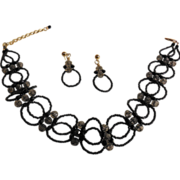 "Black Seed Beaded Choker with Matching Earrings– 13.5"" + 2.5"""