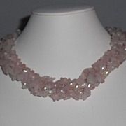 Vintage 1980's Rose Quartz and Freshwater Pearl Twisted Torsade Necklace  - 17.25""