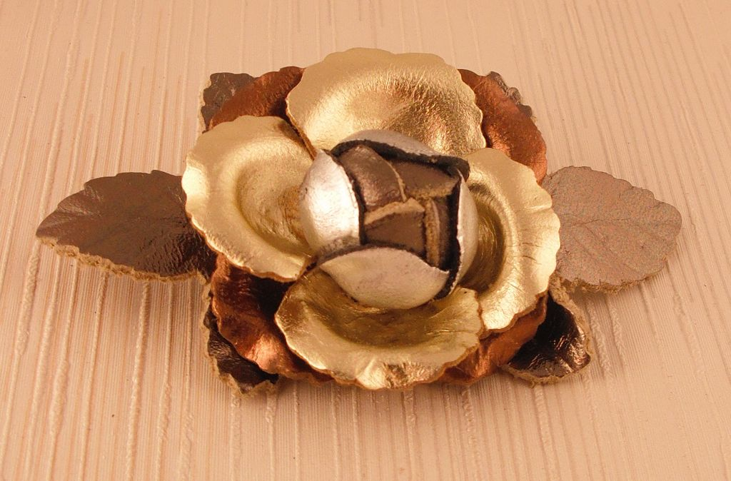 Metallic Multi Leather Rose Pin with leaves by MUSI