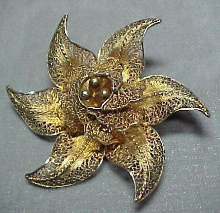 Vermeil Filigree Flower Pin