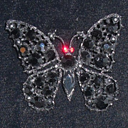 Vintage Weiss Brooch Japanned Butterfly Jet Black Stones