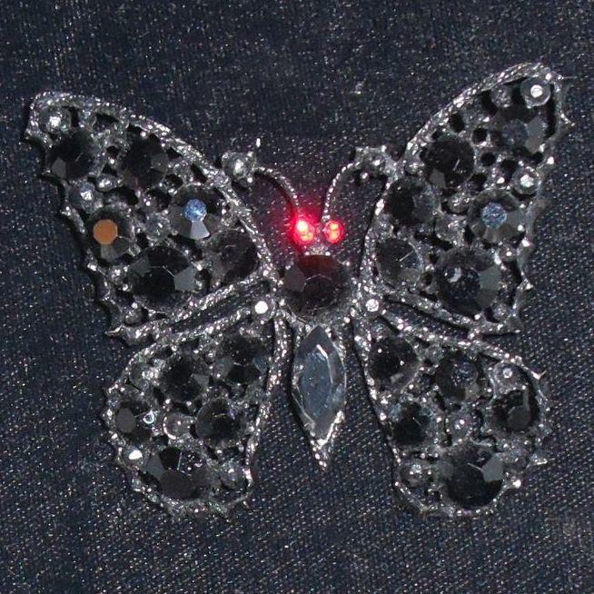 Vintage Weiss Brooch Japanned Butterfly Jet Black Stones