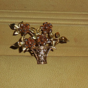 Vintage Krementz Basket of Roses Brooch Pin