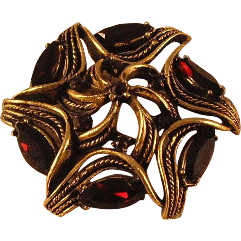 Round Pin with Garnet and Ruby Colored Rhinestones by MUSI
