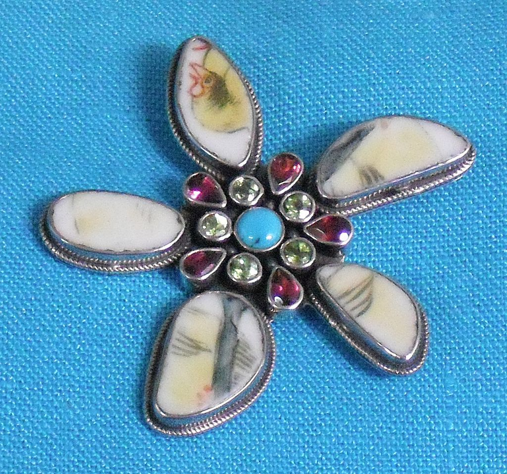 Sterling Pin/Pendant with Ceramic and Semi Precious Gemstones
