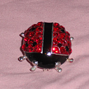 Bejeweled Red & Black Crystal & Enamel Ladybug Pin Brooch