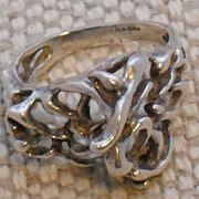 Modern Sterling Ring with Openwork Made in Israel - size 8