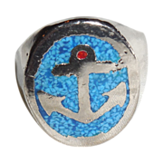 Silver Plated Anchor Ring with Turquoise Mosaic – Man's Ring - 10.5