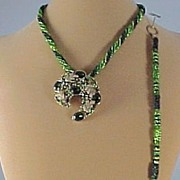 Tricolor Green Seed Beads Necklace w/Pin/Pendant and Bracelet