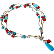Sleeping Beauty Turquoise~Faceted Coral~3 Strand Sterling Silver Bracelet with Charms