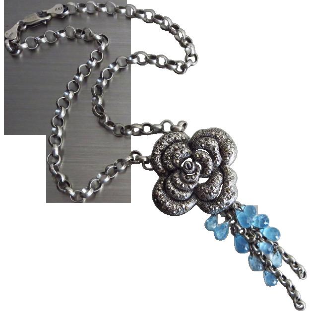 Santa Maria Aquamarine-Marcasite Rose Pendant-Oxidized Sterling Silver March Birthstone Necklace