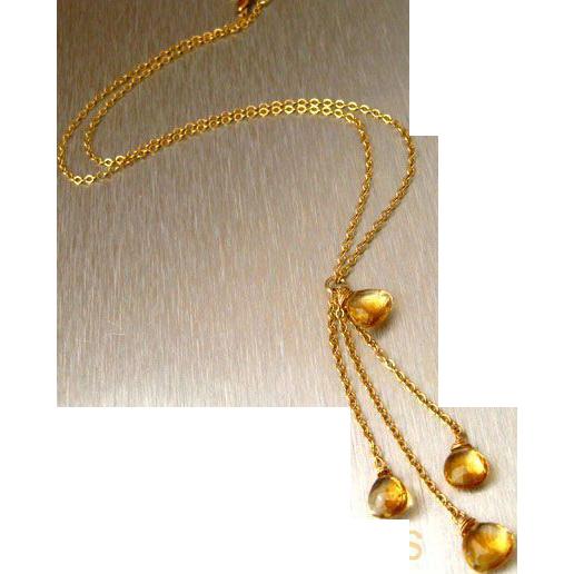 Alluring-All Natural Citrine -14k Gold Fill- Cascading Adjustable Necklace