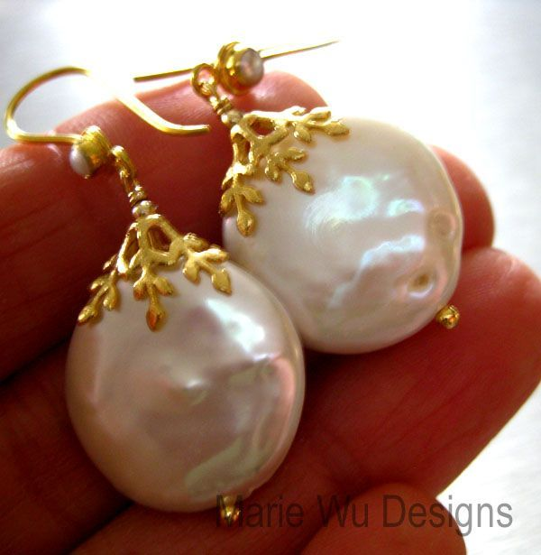 Reserved for Laura-Huge 20mm FW Coin Pearls-18K Solid Gold Embellished Earrings