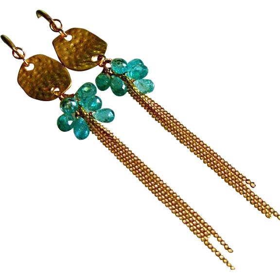 Neon Apatite Clusters-Gold Fill Shoulder Dusters-Long Dangle Earrings