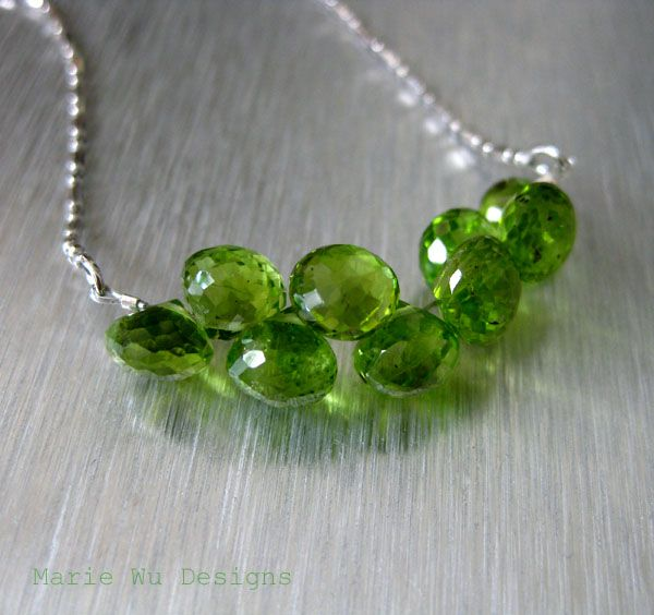 Peridot Clusters-Kisses-Onion Briolettes-Sterling Silver-Rhodium Necklace-August Birthstone
