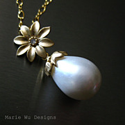 South Seas Shell Pearl Blossom Pendant-14k Gold Fill Necklace